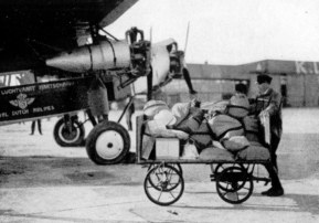 Fokker F12 at Schiphol, loading post for his journey to the Dutch East Indies