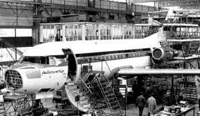 Fokker F.28 prototype, the PH-JHG, just before his roll-out. This prototype had two Rolls-Royce RB.183-2 Spey Junior turbofan engines