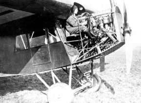 Anthony Fokker in the cockpit of a F.3. This photo shows clearly the position of the pilot next to the engine