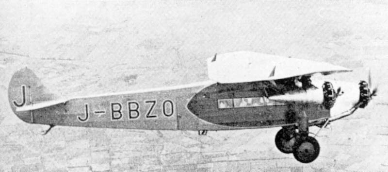 Fokker F.VIIb-3M of Japan Air Transport Co. Regulars services of this company started in spring 1929