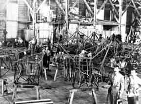 Building fusulages in the Fokker factory in Veere, 1921