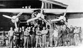 Anthony Fokker (in the middle with his hat in his hands) with his technical staff in America, 1929