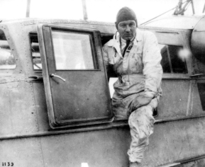 Anthony Fokker in the dooropening of a B.1 Flying boat which was later used in the Dutch East Indies