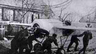 This Fokker E.2. was being wheeled away by its ground crew for maintenance at a forward airfield
