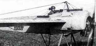 Anthony Fokker at the controls of a E.2. with his name on it