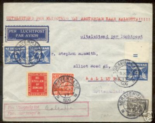 Letter send in 1929 by airmail to the Dutch East Indies