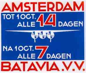Poster to announce the new weekly KLM services to Batavia