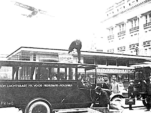 KLM ticketoffice in Amsterdam, 1923. The Fokker F.III is added to the photo later