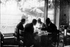 Schiphol 1931, lunch in the restaurant before departure