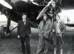 H. Veenendaal, Iwan Smirnoff and I.A. Aler in front of the Fokker F.VIIb 3-m H-NAEN